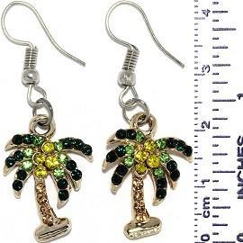 Dangle Earrings Palm Tree Rhinestone Green Gold Silver Ger832