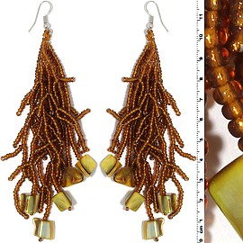 Dangle Earrings Beads Shells Silver Tone Brown Yellow Ger834