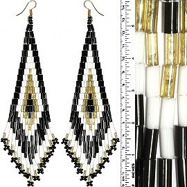 Dangle Earrings Beads Tubes Black White Gold Tone Ger839