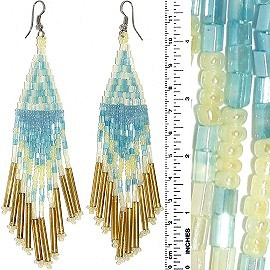 Dangle Earrings Beads Tubes Ivory Turquoise Gold Silver T Ger840