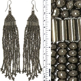 Dangle Earrings Beads Tubes Gray Silver Tone Ger844