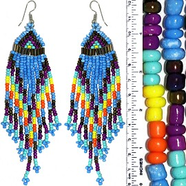 Dangle Earrings Beads Tubes Blue Multi Color Silver Tone Ger847