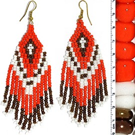 Dangle Earrings Beads Orange White Brown Gold Tone Ger850