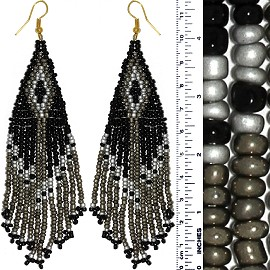 Dangle Earrings Beads Black Gray Silver Gold Tone Ger851