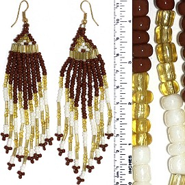 Dangle Earrings Beads Tubes Brown White Gold Tone Ger852