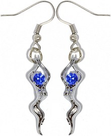 Rhinestone Earrings Sexy Dancing Lady Silver Blue Ger853