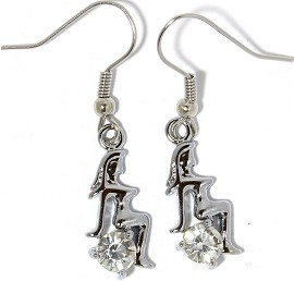 Rhinestone Earrings Sexy Sitting Lady Girl Silver Clear Ger854