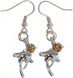 Rhinestone Earrings Flower Silver Tan Dark Ger855
