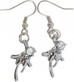 Rhinestone Earrings Flower Silver Clear Ger856