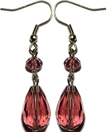Crystal Earrings Tear Purple Ger860