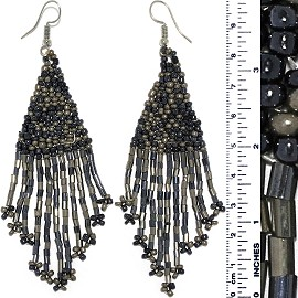 Dangle Earrings Beads Tubes Dark Gray Graphite Silve Tone Ger861