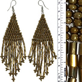 Dangle Earrings Beads Tubes Gold Bronze Silver Tone Ger862