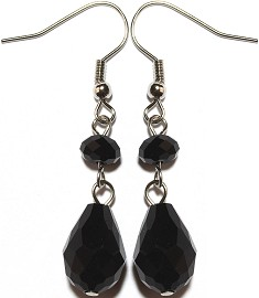 Crystal Earrings Tear Black Ger866