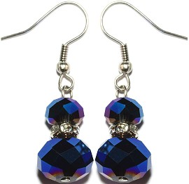Crystal Earrings Round Solid Dark Blue Aura Ger867