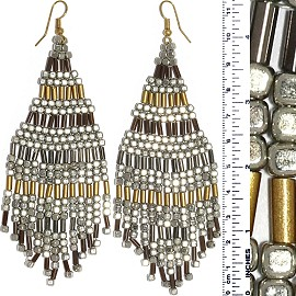 Dangle Earrings Cube Beads Tubes Silver Gold Gray Tone Ger869