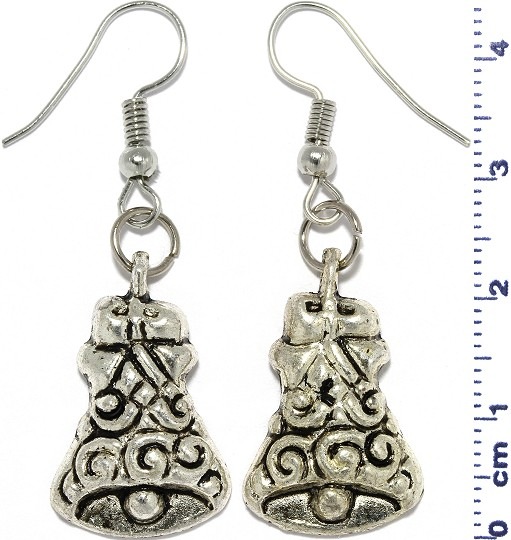 Christmas Bells Dangle Earrings Metallic Gray Silver Tone Ger872