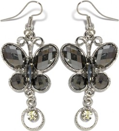 Obsidian Earrings Rhinestone Butterfly Crystals Ger906