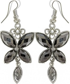 Obsidian Earrings Rhinestone Butterfly Crystals Ger912