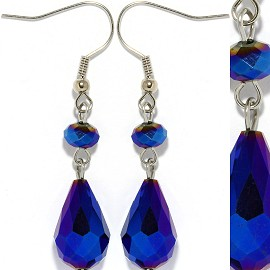 Crystal Earrings Blue Aura Ger923