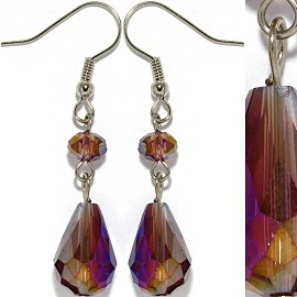 Crystal Earrings Purple Silver Aura Ger930