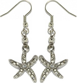 Rhinestone Earrings Starfish Silver Ger943
