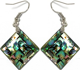 Abalone Earrings Square Green Ger957