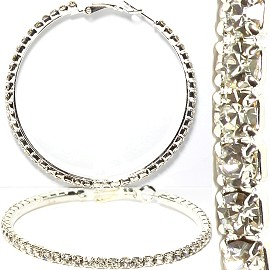 Rhinestone Hoop Earrings Silver About 55mm S Diameter Ger980