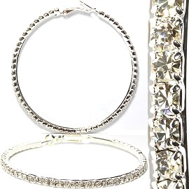 Rhinestone Hoop Earrings AB Silver About 55mm S Diameter Ger981