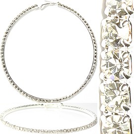 Rhinestone Hoop Earrings AB Silver About 75mm L Diameter Ger983