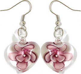 Glass Earrings Flower Heart Clear Purple Ger998