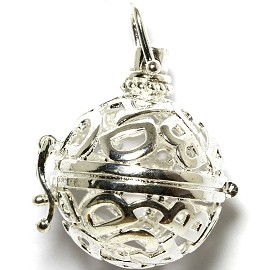 Globe Ball Cage Locket Pendant 21mm Wide D B Silver HX63