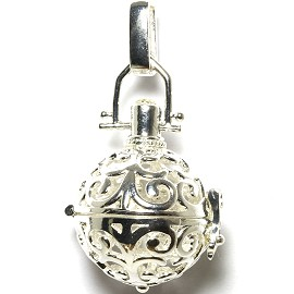 Globe Ball Cage Locket Pendant 21mm Wide Flower Silver HX64