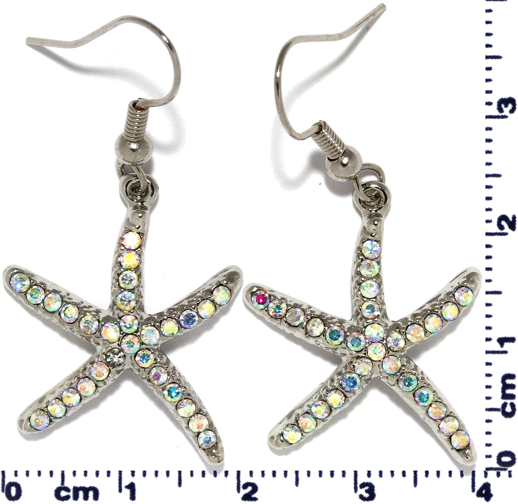 Rhinestone Earrings Starfish Silver Tone AB Multi Color Ger423