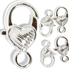 5pc 26x14x7mm Lobster Claw Heart Silver White JF002