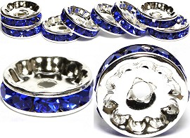 10pc 12mm Wheel Rhinestone Spacer Silver Blue JF022