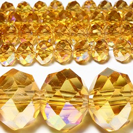 36pcs 10mm Spacers Crystal Beads Aura Borealis Gold JF029