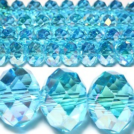 70pcs 10mm Spacers Crystal Beads Aura Borealis Aqua JF037