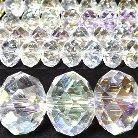 70pcs 10mm Spacers Crystal Beads Aura Borealis Clear JF038