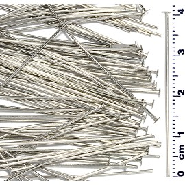 100pcs 40mm Bendable Metal Pin Flat Top Silver Tone JF044