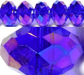 70pcs 8mm Spacers Crystal Oval Bead Royal Blue Aura JF061