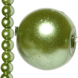 100pc 8mm Faux Pearl Bead Spacer Tea Green JF1066