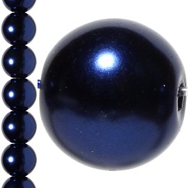 40pc 10mm Faux Pearl Bead Spacer Dark Blue JF1079