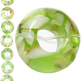 18pc 15x7mm, 6mm Hole Shell Glass Spacer Lime Green JF1104