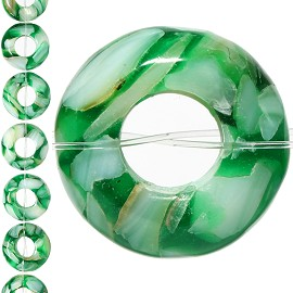 18pc 15x7mm, 6mm Hole Shell Glass Spacer Green JF1105