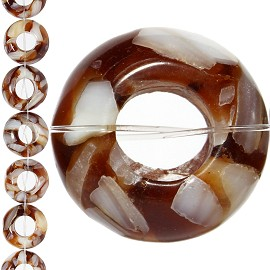 18pc 15x7mm, 6mm Hole Shell Glass Spacer Brown JF1109