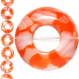 18pc 15x7mm, 6mm Hole Shell Glass Spacer Orange JF1110