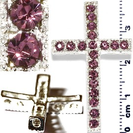1pc Rhinestone Cross Spacer Purple JF1142