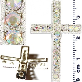 1pc Rhinestone Cross Spacer Silver Aura JF1151