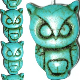 14pc 30x20x9mm Earth Stone Owl Spacer Turquoise JF1163