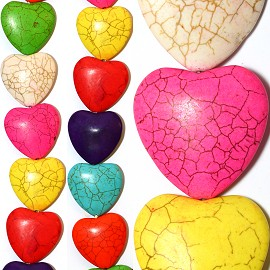 12pc 35x34x10mm Earth Stone Heart Spacer Mix Color JF1169